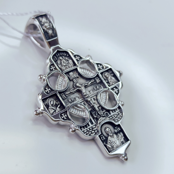 Крест  Святые молите Бога о мне серебряный с ручной доработкой арт 17.070р