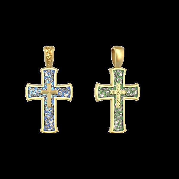 Крест православный «Спаси и сохрани» витражная эмаль