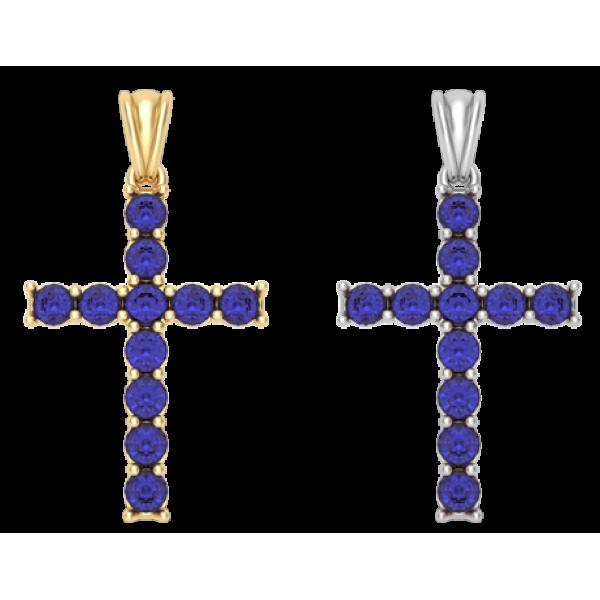 Крест с синими фианитами