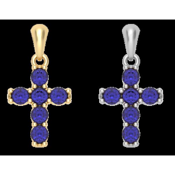 Крест с синими фианитами (малый)