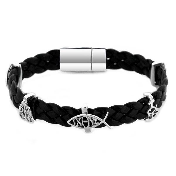 Православный браслет из плетеной кожи черного цвета с серебряными вставками