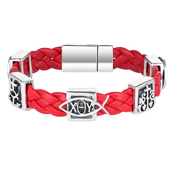 Православный браслет из плетеной кожи красного цвета с серебряными вставками