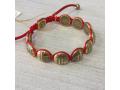 Православный браслет 10 заповедей на красной нитке позолоченный