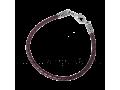 Кожаный браслет плетеный фиолетовый с серебряной застежкой
