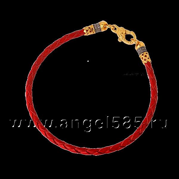Кожаный браслет плетеный красный