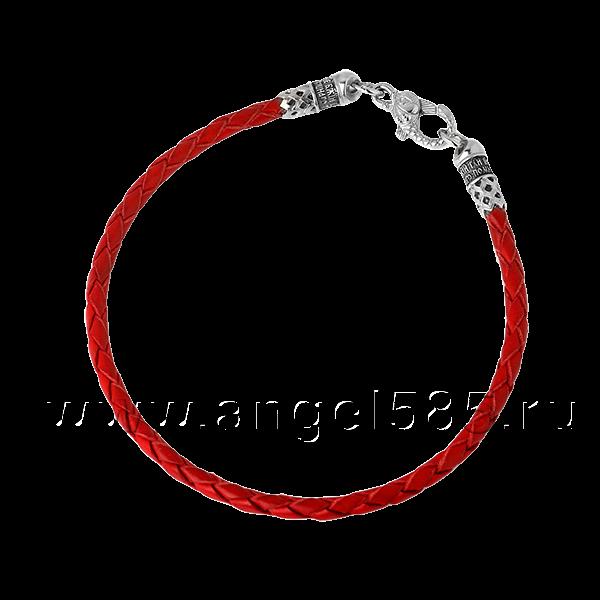 Кожаный браслет плетеный красный винтажный с серебряной застежкой