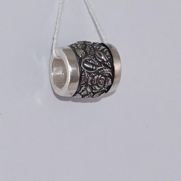 Серебряная бусина Роза символ Богородицы Ш09