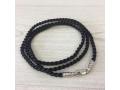 Текстильный шнурок черный с серебряной застежкой