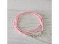 Текстильный шнурок розовый 2мм с серебряной застежкой