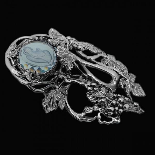 Брошь Архангел Гавриил голубой кварц