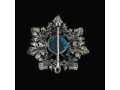 Брошь образ Божией Матери Владимирская голубой кварц