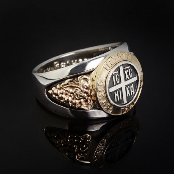 Кольцо православное Печать дара Духа Святаго бриллианты (арт.876.05.08.61)