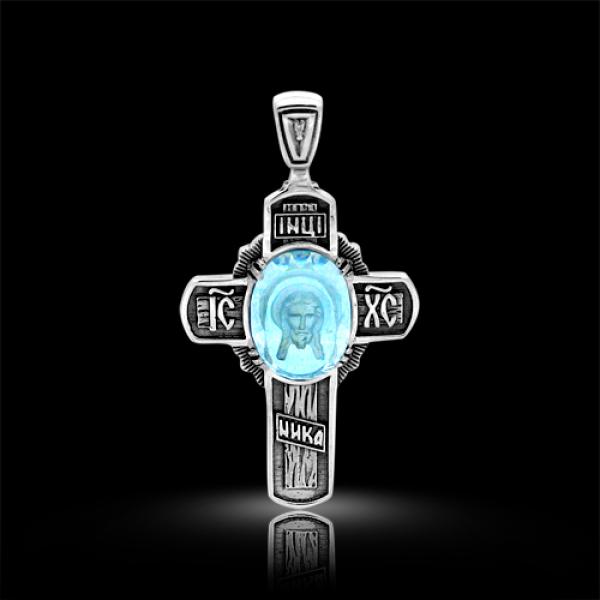 Крест нательный Спас Нерукотворный бриллиант, голубой кварц (арт.403.04.08-22.02)