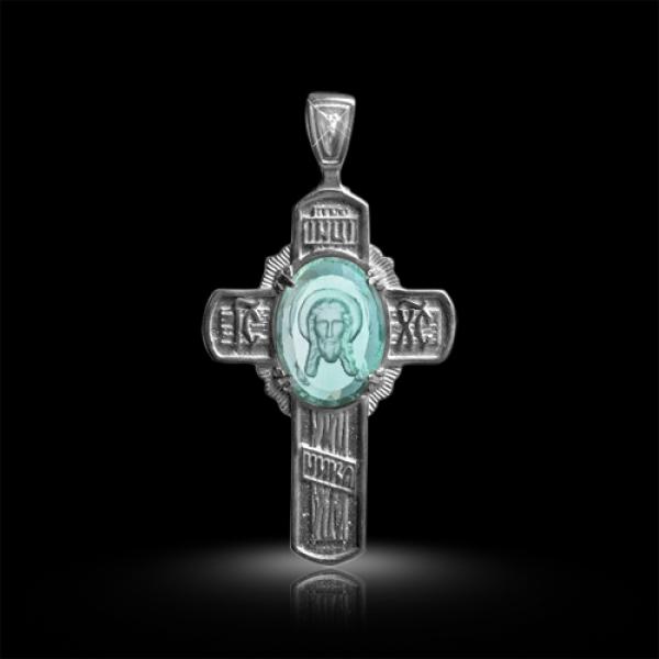 Крест нательный Спас Нерукотворный бриллиант, зеленый квар (арт.403.04.08-23.02)