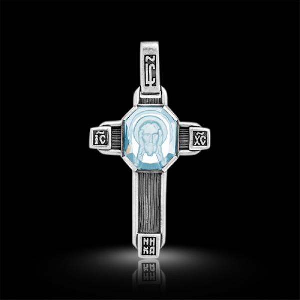 Крест нательный Спас Нерукотворный голубой топаз (арт.547.04.48.02)