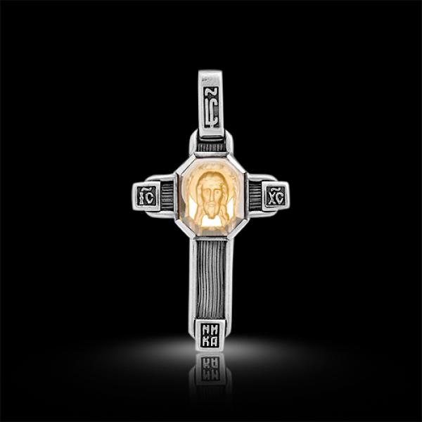 Крест нательный Спас Нерукотворный цитрин (арт.547.04.25.02)