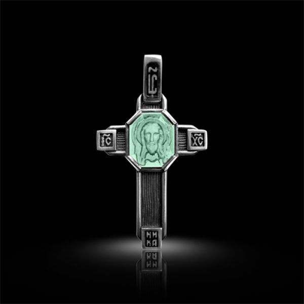 Крест нательный Спас Нерукотворный зеленый кварц (арт.547.04.23.02)