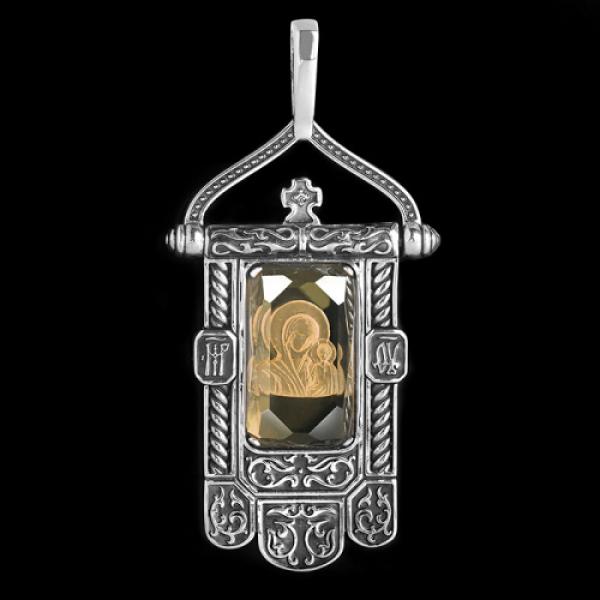 Подвеска Хоругвь икона Божией Матери Казанская раухтопаз (атр.651.04.24.05)