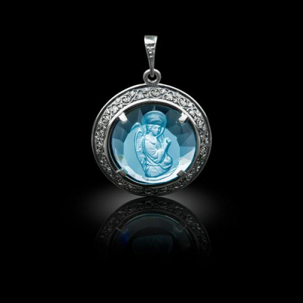 Подвеска Нательная икона Ангел Архангел Гавриил бриллиант, голубой кварц (арт.612.04.08-22.28)