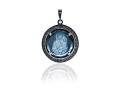 Подвеска Нательная икона Божией Матери Иерусалимская бриллиант, голубой кварц (арт.612.04.08-22.12)