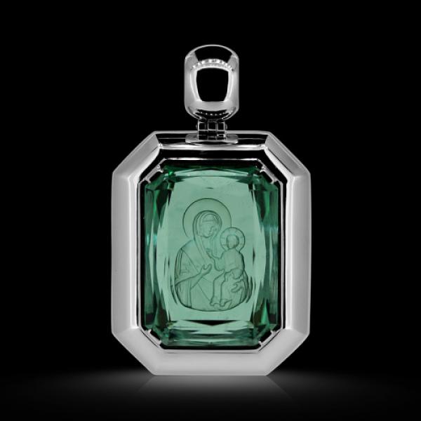Подвеска Нательная икона Божией Матери Иверская зеленый аметист природный (празиолит) (арт.623.15.36.10)