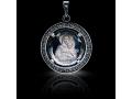 Подвеска Нательная икона Божией Матери Леушинская бриллиант, раухтопаз (арт.612.04.08-24.26)