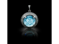 Подвеска Нательная икона Божией Матери Неупиваемая чаша бриллиант, голубой кварц (арт.612.04.08-22.11)