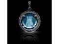 Подвеска Нательная икона Божией Матери Пятигорская бриллиант, голубой кварц (арт.612.04.08-22.24)