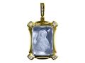 Подвеска Нательная икона Божией Матери Владимирская бриллианты, голубой кварц (арт.548.12.08-22.06)