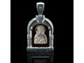 Подвеска Нательная икона Преподобный Сергий Радонежский бриллиант, раухтопаз (арт.642.04.08-24.43)