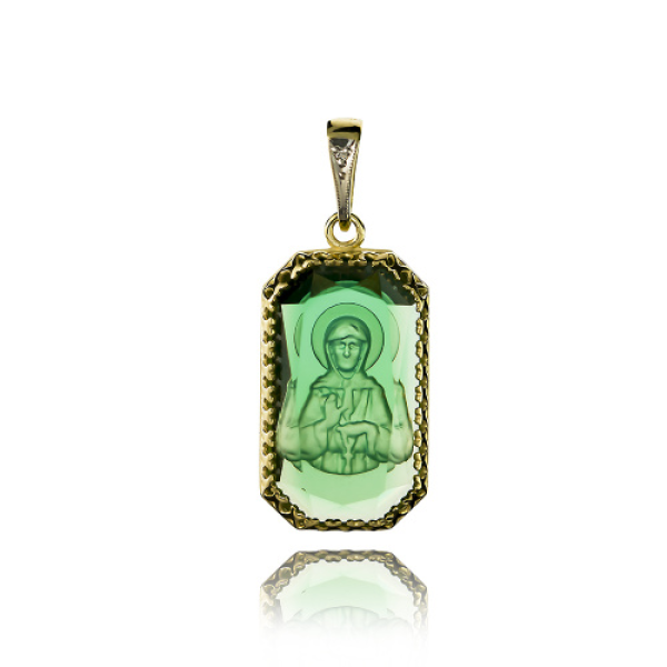 Подвеска Нательная икона Святая Блаженная Матрона Московская бриллиант, зеленый кварц (арт.726.12.08-23.47)