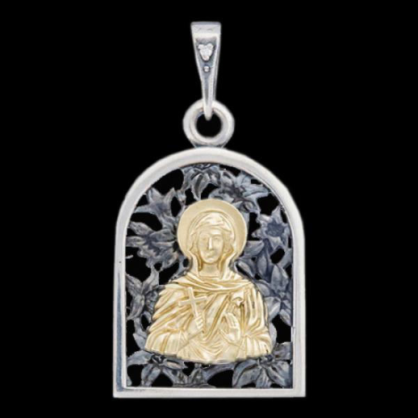 Подвеска Нательная икона Святая мученица Параскева Пятница бриллиант (атр.607.05.08.36)
