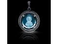 Подвеска Нательная икона Святая Татиана Римская бриллиант. голубой кварц (арт.612.04.08-22.38)