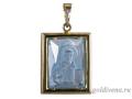 Подвеска Нательная икона Святитель Николай Чудотворец бриллиант, голубой кварц (арт.396.12.08-22.39)