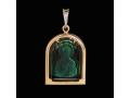 Подвеска Нательная икона Святитель Николай Чудотворец бриллиант, зеленый кварц (арт.395.11.08-23.39)