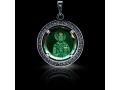 Подвеска Нательная икона Святитель Николай Чудотворец бриллиант, зеленый кварц (арт.612.04.08-23.39)
