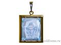 Подвеска Спаситель в терновом венце бриллиант, голубой топаз (арт.396.12.08-48.03)