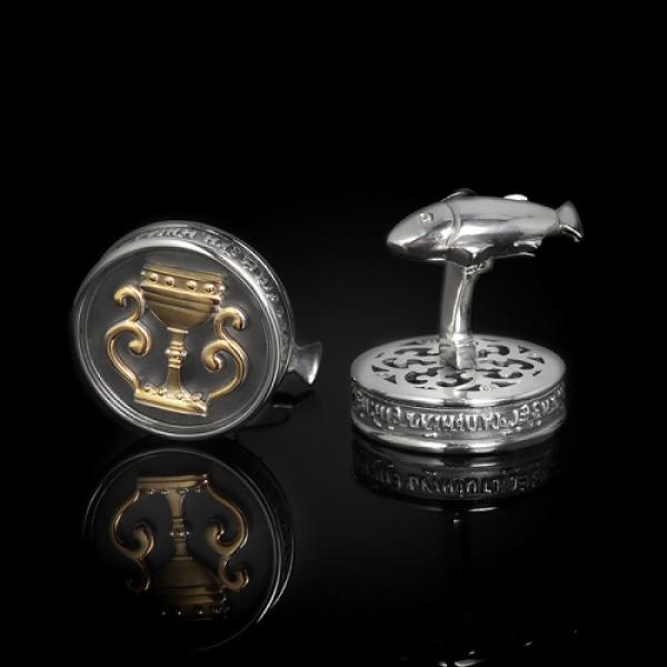 Запонки православные Чаша Причастия бриллианты (арт.701.05.08.54)
