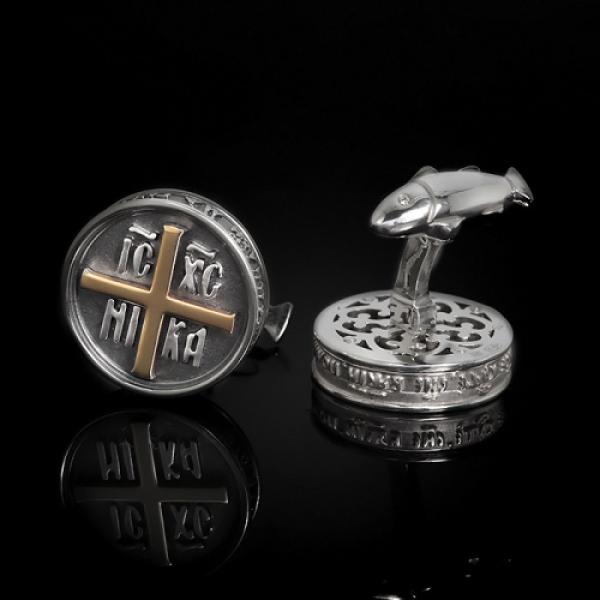 Запонки православные Печать дара Духа Святаго бриллианты (арт.703.05.08.61)