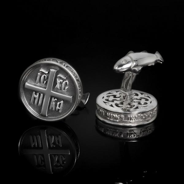 Запонки православные Печать дара Духа Святого бриллианты (арт.703.04.08.61)