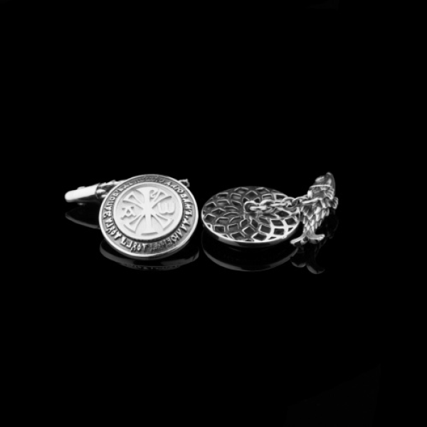 Запонки православные женские Хризма бриллианты (арт.802.04.08.55) эмаль
