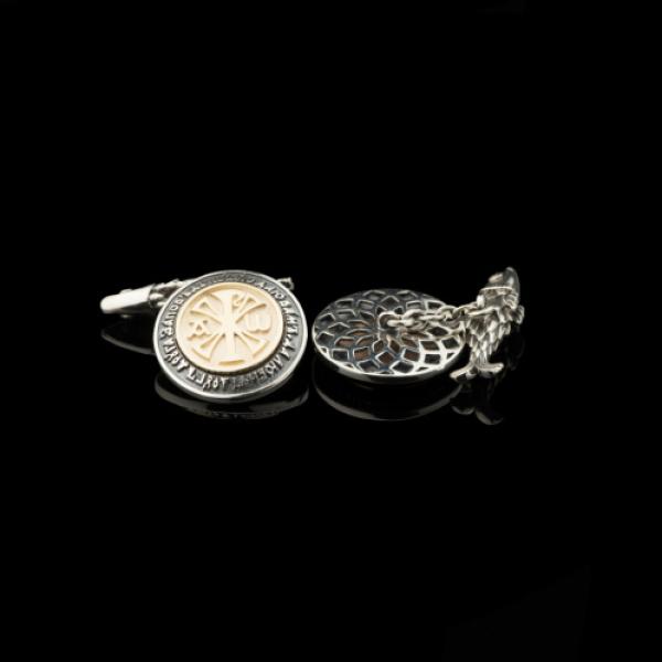 Запонки православные женские Хризма бриллианты (арт.802.05.08.55)