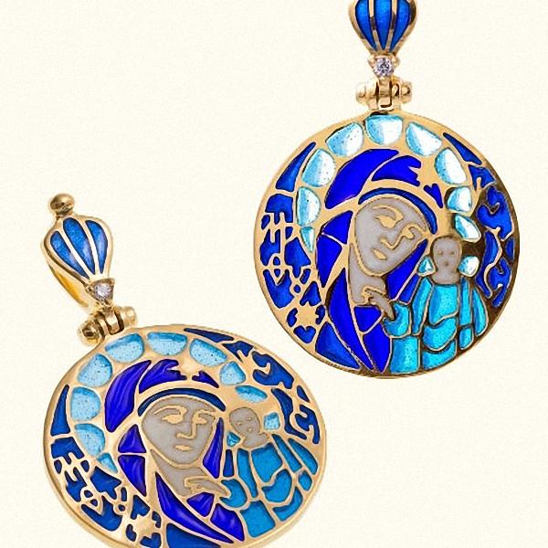 Иконка Божьей Матери Казанская витражная горячая эмаль