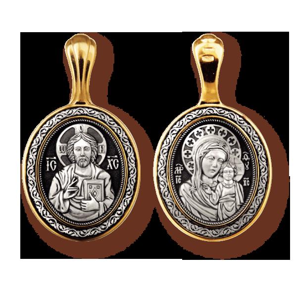 Господь Вседержитель и Казанская икона Божией Матери нательный образок артикул 8044