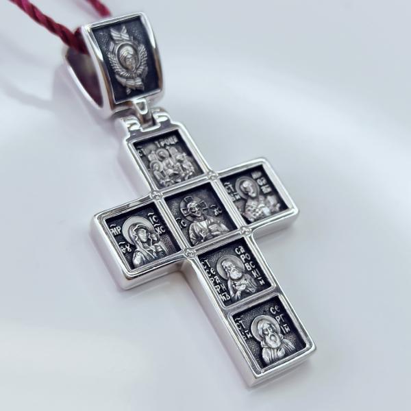 Иконостас нательный православный крест арт 17.076р серебряный с родием