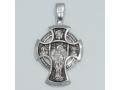 Крест православный «Деисус. Ангел Хранитель» БОЛЬШОЙ серебряный