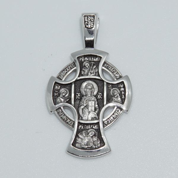 Крест православный «Деисус. Ангел Хранитель» серебряный