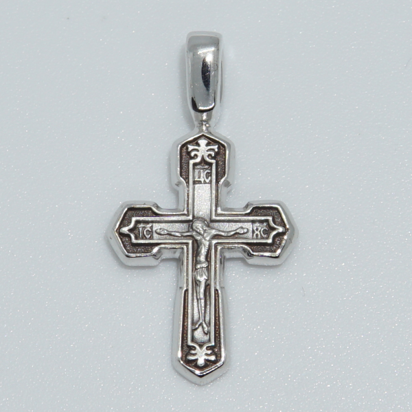 Крест «Распятие. Господи Иисусе Христе помилуй мя грешнаго» серебряный