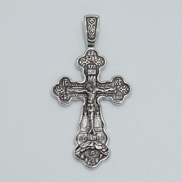 """Крест Распятие. """"Отче наш"""" из родированного серебра малый"""