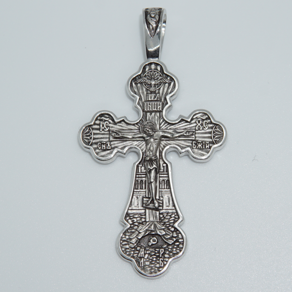 Крест Распятие. Покров Божией Матери (большой из серебря с родием)